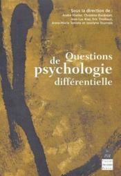 Questions de psychologie differentielle - Couverture - Format classique