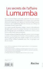 Les secrets de l'affaire lumumba - 4ème de couverture - Format classique