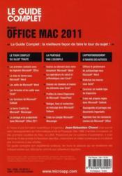 Office Mac 2011 - 4ème de couverture - Format classique