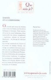 Darwin et le darwinisme - 4ème de couverture - Format classique