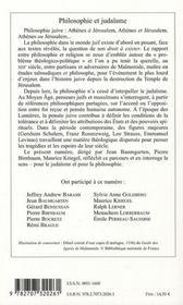 Philosophie et judaïsme - 4ème de couverture - Format classique