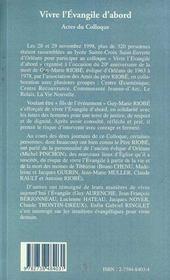 Vivre L'Evangile D'Abord ; Actes Du Colloque - 4ème de couverture - Format classique