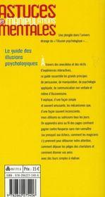 Astuces et manipulations mentales - 4ème de couverture - Format classique