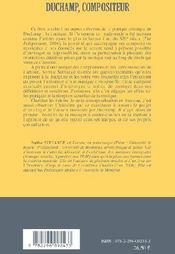 Duchamp, compositeur - 4ème de couverture - Format classique