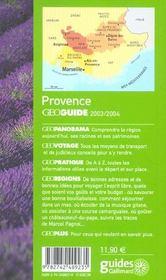 Geoguide ; Provence (Edition 2003/2004) - 4ème de couverture - Format classique