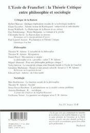 Tumultes n17-18 l'ecole de francfort - 4ème de couverture - Format classique