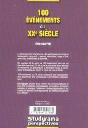 100 Evenements Du Xx Siecle - 4ème de couverture - Format classique
