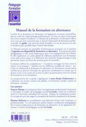 Manuel De La Formation En Alternance - 4ème de couverture - Format classique