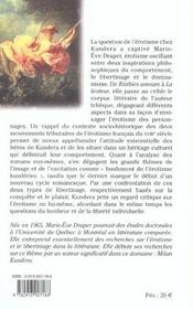Libertinage donjuanisme chez kundera - 4ème de couverture - Format classique