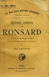 Oeuvres Choisies De Ronsard. - Couverture - Format classique