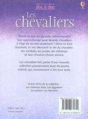 Les chevaliers - 4ème de couverture - Format classique