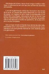 Geomancie Cours Pratique (La) Poche - 4ème de couverture - Format classique