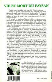 Vie et mort du paysan - 4ème de couverture - Format classique
