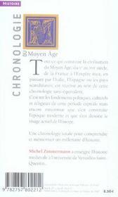 Chronologie du Moyen Age - 4ème de couverture - Format classique