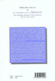 La Naissance De La Mardite. Une Theologie Politique A L'Age Totalitai Re : Pie Xi, 1922-1939 - 4ème de couverture - Format classique