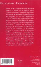 Patagonie express - (*) - 4ème de couverture - Format classique