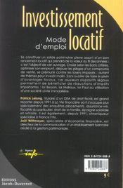 Investissement Locatif Mode D'Emploi - 4ème de couverture - Format classique