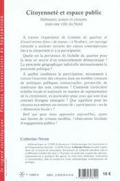 Citoyennete et espace public habitants, jeunes et citoyens dans une ville du nord - 4ème de couverture - Format classique