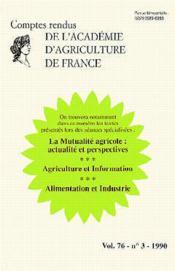 La Mutualite Agricole:Actualite Et Perspectives (Vol 76 N.3 1990) - Couverture - Format classique