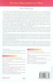 L'interpretation des conventions de droit international prive. volume 58 - nouvelle bibliotheque de - 4ème de couverture - Format classique