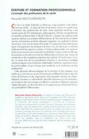 Ecriture et formation professionnelle l'exemple des professions de la sante - 4ème de couverture - Format classique