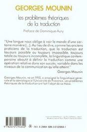 Les Problemes Theoriques De La Traduction - 4ème de couverture - Format classique