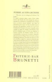 Friterie - Bar Brunetti - 4ème de couverture - Format classique