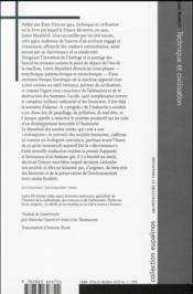 Technique et civilisation - 4ème de couverture - Format classique