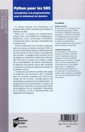 Python pour les SHS ; introduction à la programmation pour le traitement de données - 4ème de couverture - Format classique