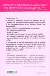 Automatique Problemes Resolus D'Automatique - 4ème de couverture - Format classique