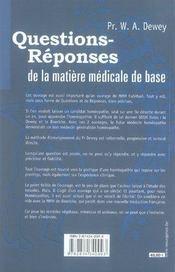 Questions-réponses de la matière médicale de base - 4ème de couverture - Format classique