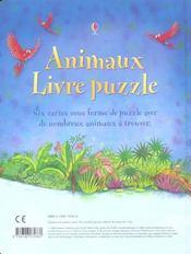 Animaux ; livre puzzle - 4ème de couverture - Format classique