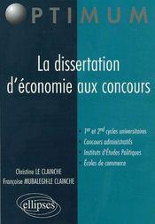 La Dissertation D'Economie Aux Concours - Intérieur - Format classique