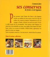 Comment faire ses conserves de fruits et de legumes - 4ème de couverture - Format classique