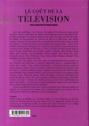 Le goût de la télévision - 4ème de couverture - Format classique