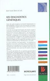 Les diagnostics genetiques - 4ème de couverture - Format classique