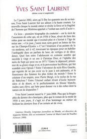 Yves Saint-Laurent - 4ème de couverture - Format classique