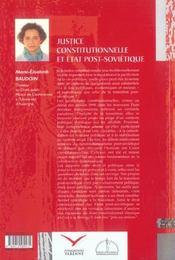 Justice constitutionnelle et etat post-sovietique - 4ème de couverture - Format classique