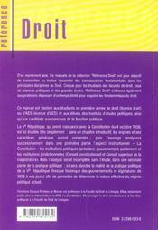 Droit Constitutionnel La Ve Republique - 4ème de couverture - Format classique