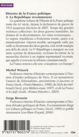 La République recommencée ; de 1914 à nos jours - 4ème de couverture - Format classique