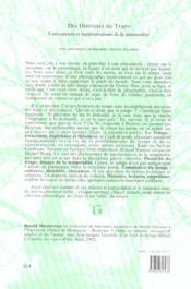 Des histoires du temps. conceptions et representations de la temporal ite - 4ème de couverture - Format classique