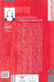 Les conventions nationales medicales - 4ème de couverture - Format classique