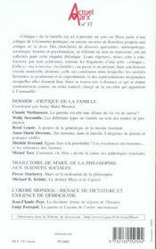 REVUE ACTUEL MARX N.37 ; critique de la famille - 4ème de couverture - Format classique