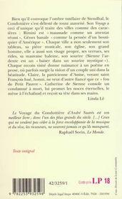 Le voyage du condottiere - vers venise, fiorenza, sienne la bien-aimee - 4ème de couverture - Format classique