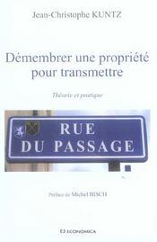 Demembrer Une Propriete Pour Transmettre : Theorie Et Pratique - Intérieur - Format classique