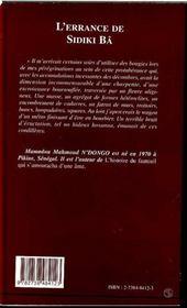 L'errance de Sidiki Ba - 4ème de couverture - Format classique
