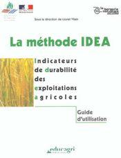 La méthode idea ; indicateurs de duabilité des exploitations agricoles - Intérieur - Format classique