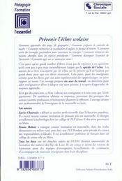 Prevenir L'Echec Scolaire - 4ème de couverture - Format classique