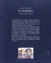 La frontière (édition 2003) - 4ème de couverture - Format classique