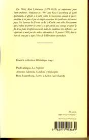 Lettres du front et de la geôle 1916-1918 - 4ème de couverture - Format classique